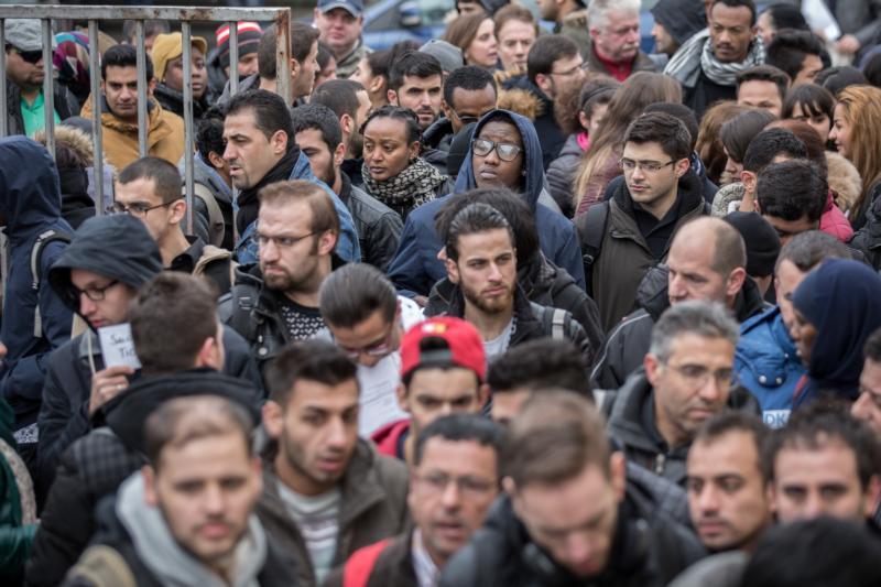 Refugee job seekers gather at a job fair in Berlin, Feb. 29. (CNS photo/Michael Kappeler, EPA)