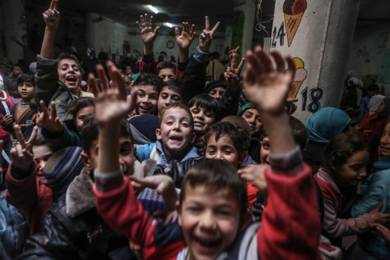 Children are seen in a school in Damascus, Syria, Feb. 20. (CNS photo/Mohammed Badra, EPA)