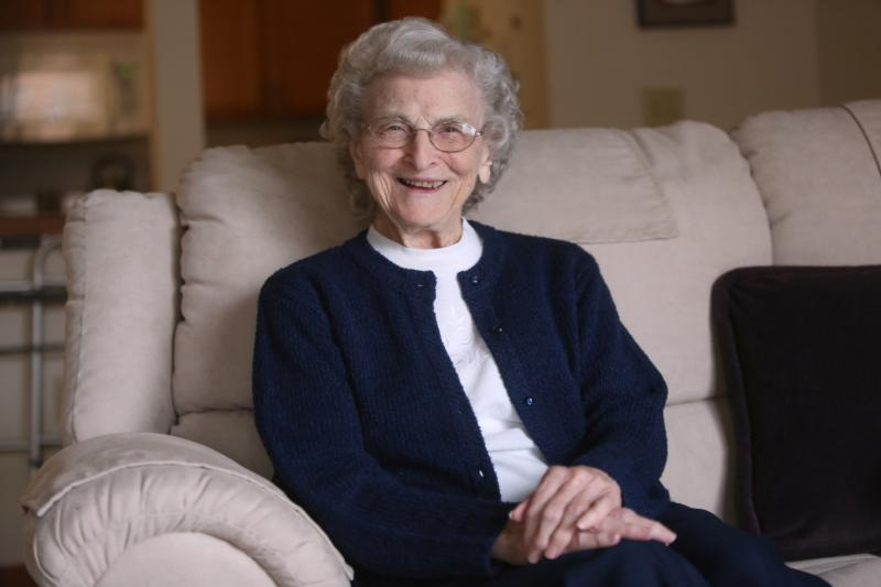 """Sister Mary Madonna Ashton, 92, a Sister of St. Joseph of Carondelet, poses for a photo March 9 in Minnesota. She is one of 16 to receive the 2016 National Women's History Month award """"Working to Form a More Perfect Union: Honoring Women in Public Service and Government."""" (CNS photo/Dave Hrbacek, The Catholic Spirit)"""