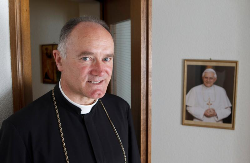 Bishop Bernard Fellay, superior of the Society of St. Pius X, is pictured in 2012 at the society's headquarters in Menzingen, Switzerland. (CNS photo/Paul Haring)