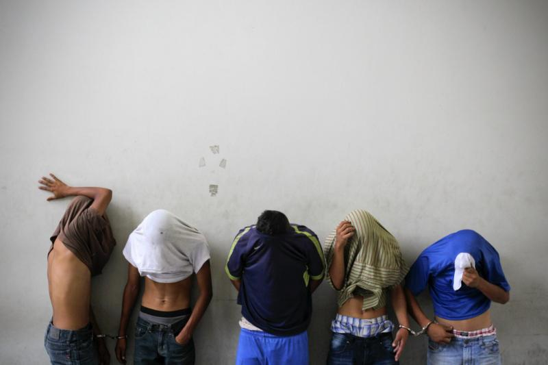 Barrio 18 gang members accused of killing a bus driver in San Salvador, El Salvador, are presented to media July 29, 2015. (CNS photo/Oscar Rivera, EPA)