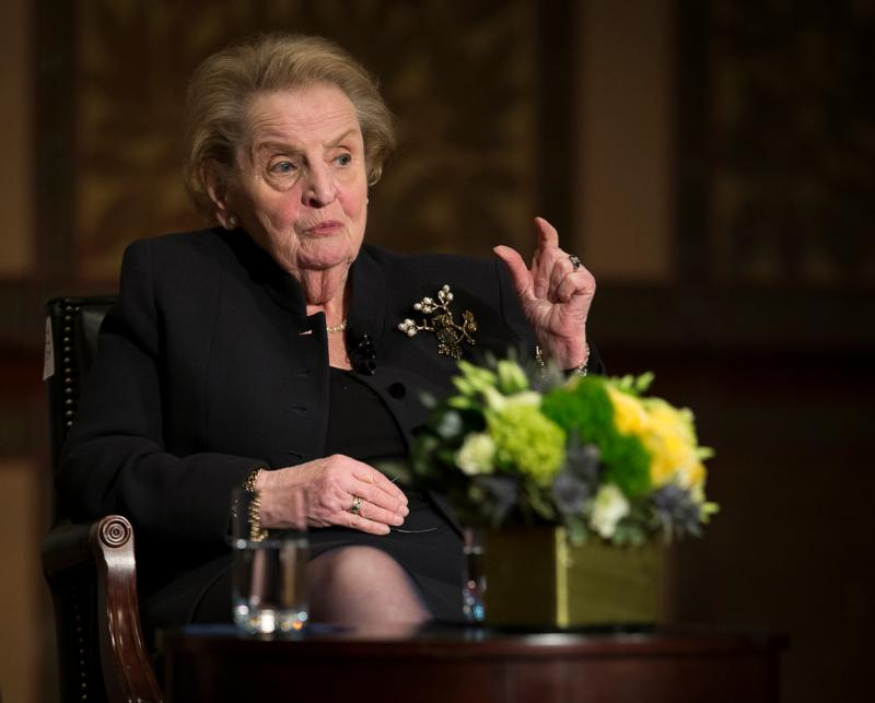 Former U.S. Secretary of State Madeleine Albright answers questions from Georgetown University students in Washington April 7 about the future challenges for religion, peace and world affairs. (CNS photo/Tyler Orsburn)