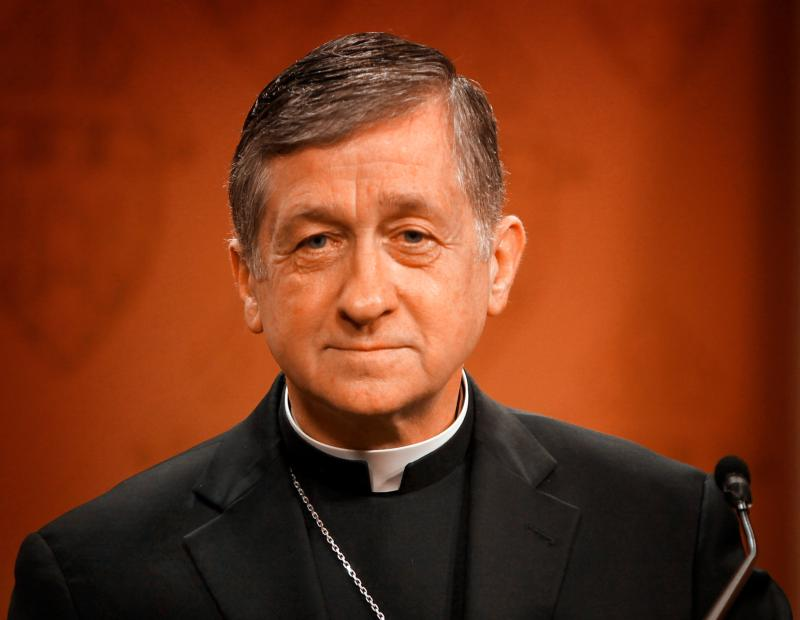 """Archbishop Blase J. Cupich of Chicago listens to a question from a member of the media April 8 about Pope Francis' apostolic exhortation """"Amoris Laetitia"""" (""""The Joy of Love""""), which delves into the church's teachings on true love and the family. (CNS photo/Karen Callaway, Catholic New World)"""