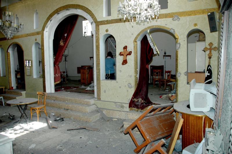 The damaged St. Sarkis Church in Sadad, Syria, is seen in 2013. Hundreds of Christian families are returning to Sadad, more than two years after their city was overrun by terrorists, a local official said. (CNS photo/EPA)