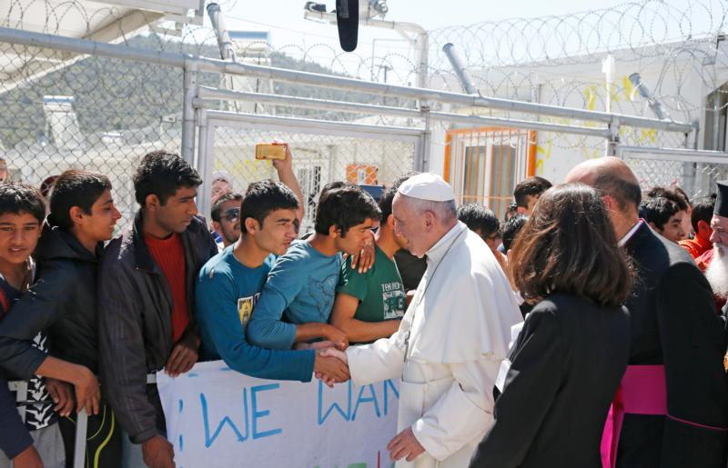 Pope Francis meets refugees at the Moria refugee camp on the island of Lesbos, Greece, April 16, 2016. (CNS photo/Paul Haring)