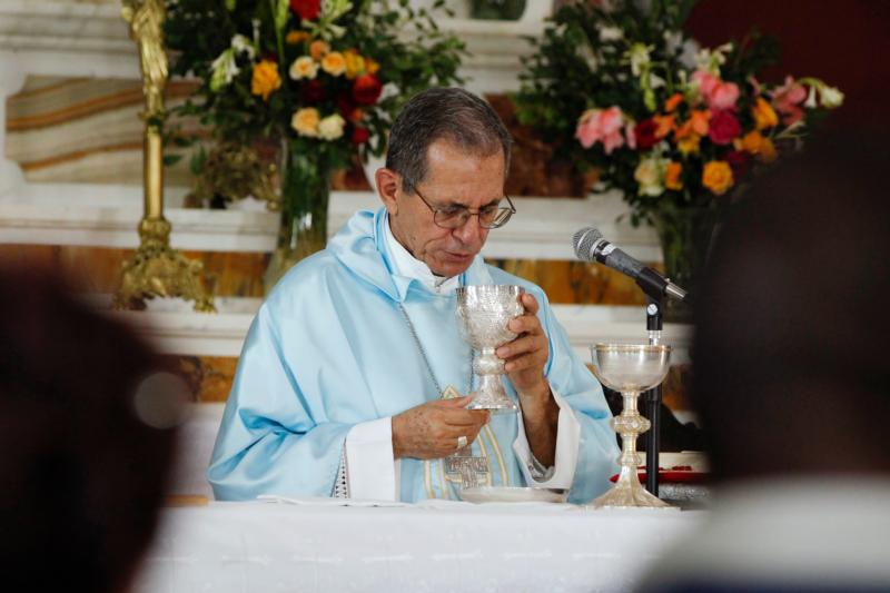 Cuban Archbishop Juan Garcia Rodriguez of Camaguey celebrates Mass in 2012 at the Shrine of Our Lady of Charity of El Cobre in Cuba. Pope Francis has accepted the resignation of 79-year-old Cardinal Jaime Ortega Alamino of Havana and named Archbishop Garcia as his replacement. (CNS photo/Nancy Wiechec)
