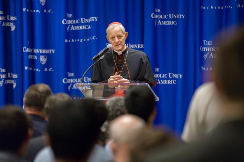 "Cardinal Donald W. Wuerl of Washington gives an April 27 talk to an audience at The Catholic University of America on ""Amoris Laetitia"" (""The Joy of Love""), Pope Francis' apostolic exhortation on marriage and the family. (CNS photo/Jaclyn Lippelmann, Catholic Standard)"