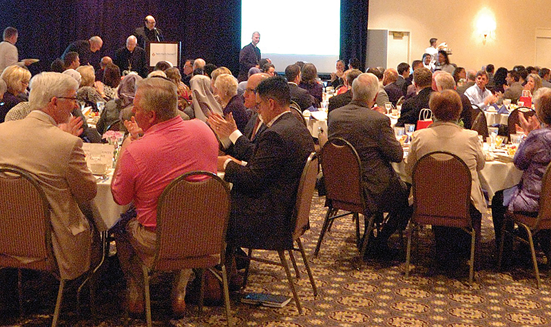 More than 360 people attended the Saint Paul Outreach prayer breakfast on April 14 at the Ritz Carlton in Overland Park. Leaven photo by Jill Ragar Esfeld