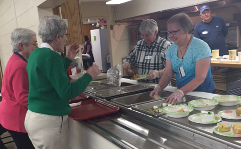 The Sisters of Charity of Leavenworth, Wallula Christian Church, and the University of Saint Mary partner together every third Thursday of each month to serve a free community meal at St. Joseph Catholic Church for the Leavenworth area.