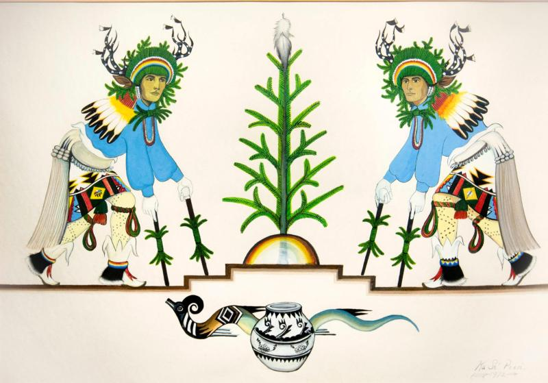 Modern artwork by Tim Vigil of Tesuque Pueblo depicting the ceremonial deer dance, is seen on display in 2014 at the Indian Pueblo Cultural Center in Albuquerque, N.M. (CNS photo/Nancy Wiechec)
