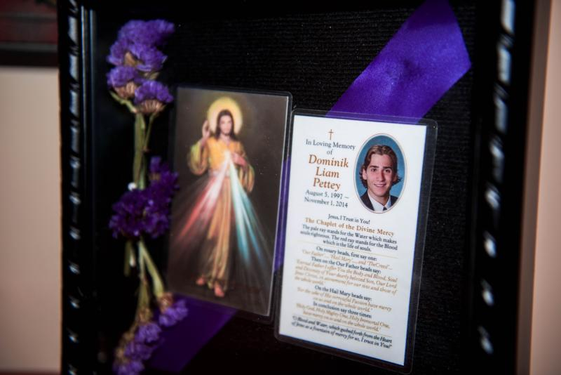 "This memory box honors Dominik Pettey, a 17-year-old who attended Gonzaga College High School in Washington and was killed in a car accident in November 2014. Margaret ""Maggie"" Baisley, the driver of the vehicle that caused the death of Pettey, said the compassion shown to her after the accident by the boy's parents was the ""most profound"" experience of grace she has felt in her life. (CNS photo/Nicholas Pettey) See MERCY-ACCIDENT-HEALING Oct. 18, 2016."