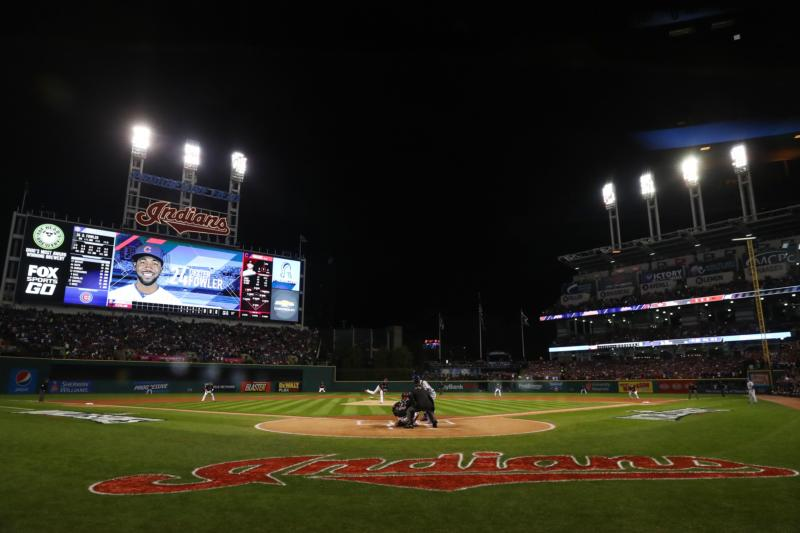 Cleveland Indians starting pitcher Corey Kluber throws to Chicago Cubs center fielder Dexter Fowler in the first inning in game one of the 2016 World Series at Progressive Field Oct. 26. (CNS photo/Elsa, Pool Photo via USA TODAY Sports) See WORLD-SERIES-WAGER Nov. 7, 2016.