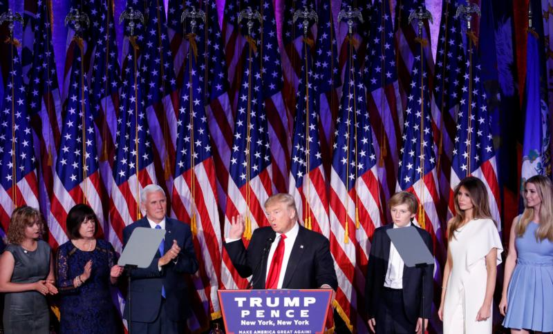 President-elect Donald Trump delivers his acceptance speech at the New York Hilton Midtown in Manhattan in the early morning hours Nov. 9. (CNS photo/Shawn Thew, EPA) See ELECTION-TRUMP-REACTION Nov. 9, 2016.