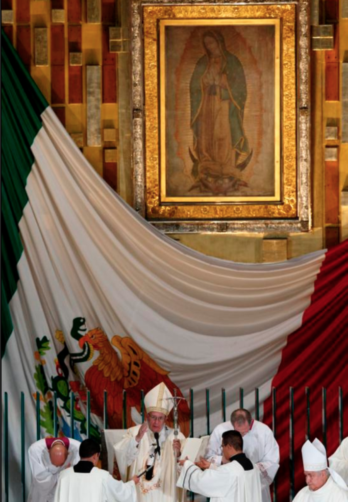 The original image of Our Lady of Guadalupe is seen as Pope Francis delivers his blessing Feb. 13 at the conclusion of Mass in the Basilica of Our Lady of Guadalupe in Mexico City. The message of Our Lady of Guadalupe is as relevant today as it was nearly 500 years ago, say scholars. (CNS photo/Paul Haring)