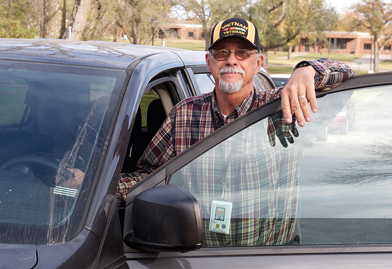 Dennis Noll, a member of St. Aloysius Church in Meriden, can be found every Wednesday and Thursday in Topeka, providing rides to veterans needing transportation to and from their appointments at the Veterans Affairs Medical Center there.