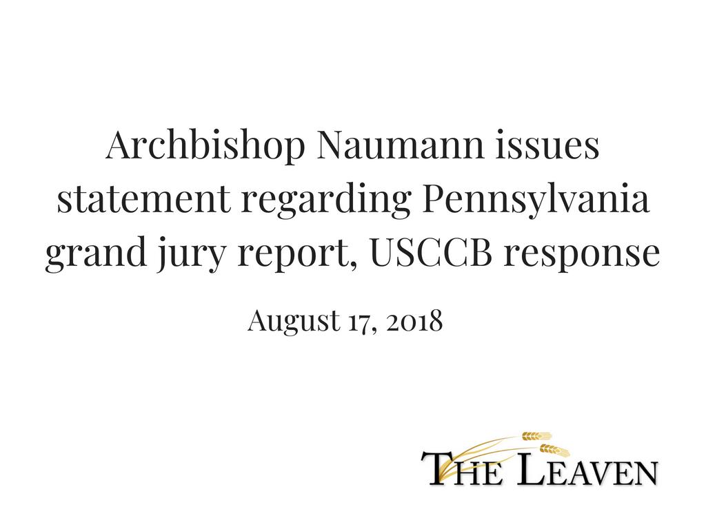 Archbishop Statement